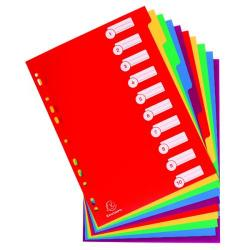 Cheap Stationery Supply of Exacompta Polypropylene 10 Part Dividers A4 Assorted 4910E Office Statationery
