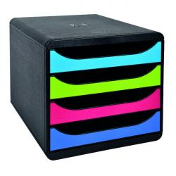 Cheap Stationery Supply of Exacompta Big Box Carbon Neutral 4 Drawer Black/Multicoloured 3101928D Office Statationery
