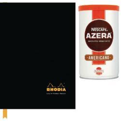 Cheap Stationery Supply of Rhodia A4 Casebound Hardback Notebook 192 Pages Black Pk3 Buy 2 Get FOC Nescafe Azera 100g GH811480 Office Statationery
