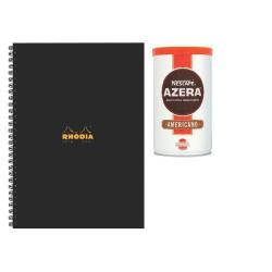 Cheap Stationery Supply of Rhodia A4 Wirebound Hardback Notebook 160 Pages Blk Pk3 Buy2 Get FOC Nescafe Azera 100g GH811481 Office Statationery