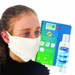 Cheap Stationery Supply of Clean Safe A5 Notebook FOC Antibac Hand Gel 100ml & Mask GH811516 Office Statationery