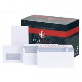 Plus Fabric Envelopes PEFC Wallet Self Seal 120gsm DL 220x110mm White Ref H25470 Pack of 500