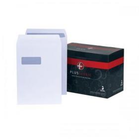 Plus Fabric Envelopes PEFC Pocket Self Seal Window 120gsm C4 324x229mm White Ref H27070 Pack of 250
