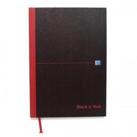 Black n Red Notebook Casebound 90gsm Plain 192pg A4 Ref 100080489 Pack of 5