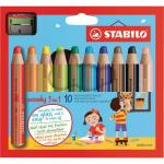 Stabilo Assorted Woody 3 in 1 Colouring Pencils Pack of 10