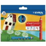 Lyra Assorted Groove Triple1 Colouring Pencils Pack of 12