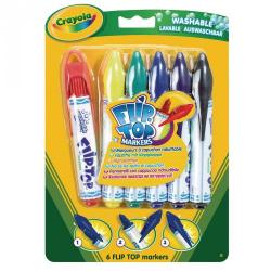 Cheap Stationery Supply of Crayola Flip Top Fibre Tip Pen Assorted, Pack of 6 Office Statationery