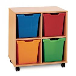 Cheap Stationery Supply of 4 Jumbo Tray Unit Maple Unit Blue Trays Included Office Statationery