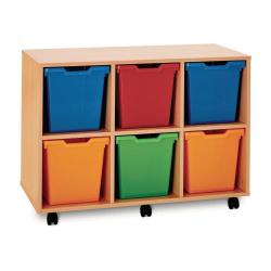 Cheap Stationery Supply of 6 Jumbo Tray Unit Beech Unit Blue Trays Included Office Statationery