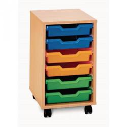 Cheap Stationery Supply of 6 Shallow Tray Unit Beech Unit Blue Trays Included Office Statationery