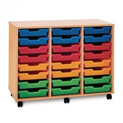 Cheap Stationery Supply of 24 Shallow Tray Unit Beech Unit Assorted Trays Included Office Statationery