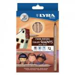 Lyra Assorted Colour Giants Skin Tone Pencils Pack of 12