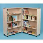 Hinged and Adjustable Bookcase 800 x 640 x 1260mm, Lockable Castors Maple