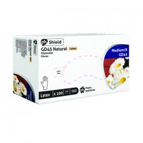 Shield Powdered Latex Gloves Medium Natural (Pack of 100) GD45