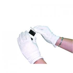 White Knitted Cotton Medium Gloves (Pack of 20) GI/NCWO