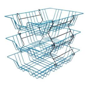 Wire Filing Tray A4 Blue (W280 x D380 x H70mm, Risers Available Seperately) 999BL