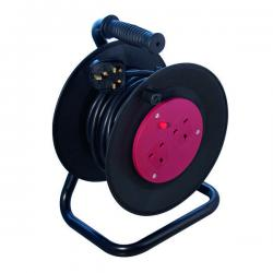 Cheap Stationery Supply of Heavy Duty 2-Way 10 Amp Extension Reel 25m Black WCR252/CHT2513 Office Statationery