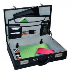 Cheap Stationery Supply of Monolith Leather Look Expandable Attache Case PVC Black 2350 Office Statationery