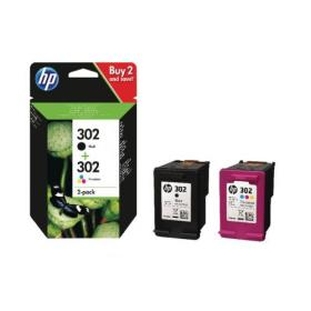 Hewlett Packard HP 302 Black and Colour Ink Cartridges (Pack of 2) X4D37AE