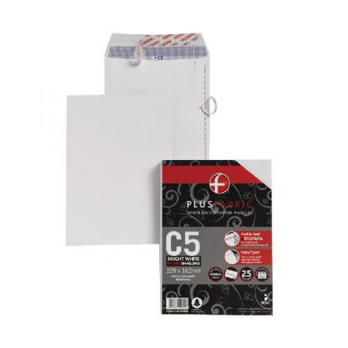Pack of 250 Plus Fabric C5 Envelope Peel and Seal 120gsm White D10055