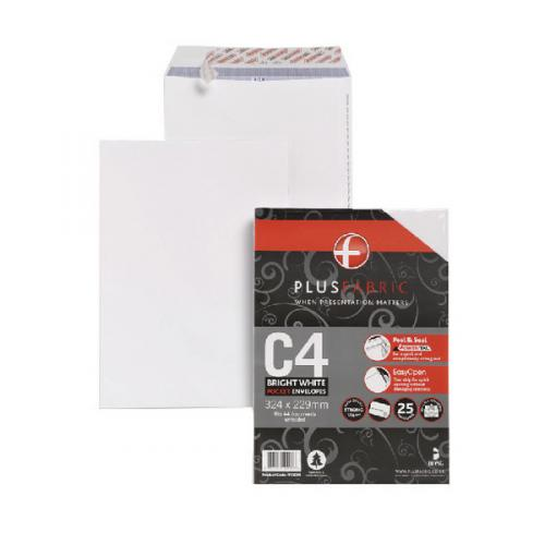 Pack of 25 C4 A4 Plain White Envelopes Peel /& Seal Without Window