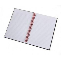Cheap Stationery Supply of Black n Red Recycled Ruled Wirebound Hardback Notebook A5 (Pack of 5) 846350962 Office Statationery