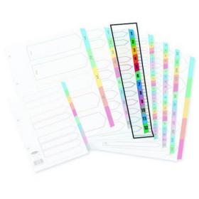 Concord Index 1-12 A4 White with Multicoloured Mylar Tabs 01301/CS13