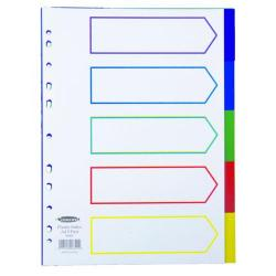 Cheap Stationery Supply of Concord Divider 5-Part A4 Polypropylene Multicoloured 06801 Office Statationery