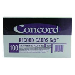 Cheap Stationery Supply of Concord Record Card Ruled 127 x 76mm Assorted (Pack of 100) 16099/160 Office Statationery