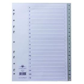 Concord Index A-Z 20-Part A4 Polypropylene Grey 62905