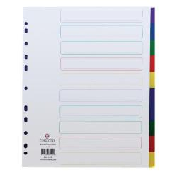 Cheap Stationery Supply of Concord Divider 10-Part A4 Extra Wide Polypropylene Multicolour 66199 Office Statationery