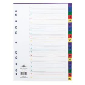 Concord Index 1-20 A4 Polypropylene Multicoloured 66599
