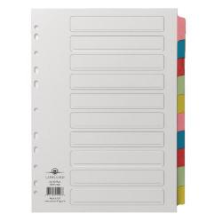 Cheap Stationery Supply of Concord Divider 10-Part A4 Multicoloured Tabs with Contents 72098/PJ20 Office Statationery