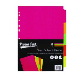 Concord Divider 5-Part A4 Manilla Neon Assorted 89099