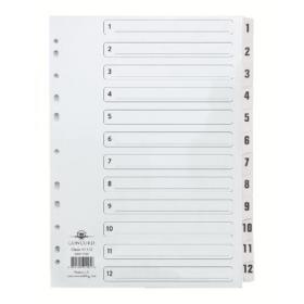 Concord Classic Index 1-12 A4 White Board Clear Mylar Tabs 01201/CS12