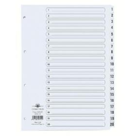 Concord Classic Index 1-20 A4 White Board Clear Mylar Tabs 00701/CS7