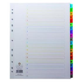 Concord Index 1-20 A4 Extra Wide Multicoloured Mylar Tabs 09901/CS99
