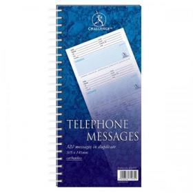 Challenge Telephone Message Book Wirebound Carbonless 320 Messages 305x141mm Ref 100080054