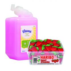 Cheap Stationery Supply of Kleenex Everyday Use Hand Soap Refill 1 Litre (Pack of 6) FOC Haribo Office Statationery