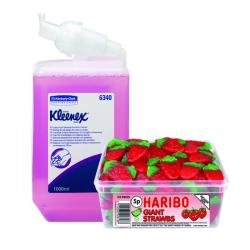 Cheap Stationery Supply of Kleenex Lux Foam Hand Soap Refill Pink 1 Litre (Pack of 6) FOC Haribo Office Statationery