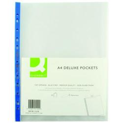 Cheap Stationery Supply of Q-Connect Delux Punched Pocket Top Opening Blue Strip A4 Clear (Pack of 25) KF01122 Office Statationery