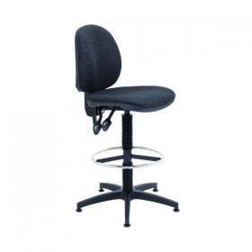 Arista Medium Back Draughtsman Chair 700x700x840-970mm Fixed Footrest Charcoal KF017031