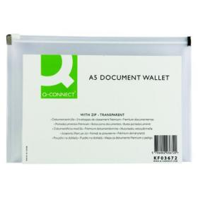 Q-Connect Document Zip Wallet A5 Transparent (Pack of 10) KF03672
