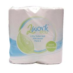 Cheap Stationery Supply of 2Work Recycled 2-Ply Toilet Roll 200 Sheets (Pack of 36) KF03809 Office Statationery
