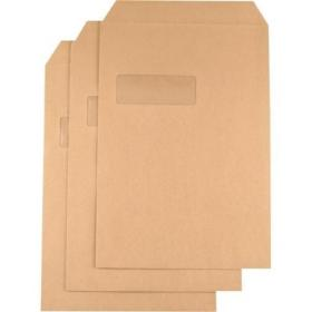 Q-Connect C4 Envelopes Window Basketweave Pocket Self Seal 115gsm Manilla (Pack of 250) KF3534