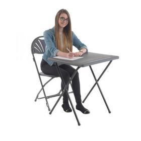 Titan Folding Exam Desk 600x600x710mm Polypropylene Charcoal KF78653