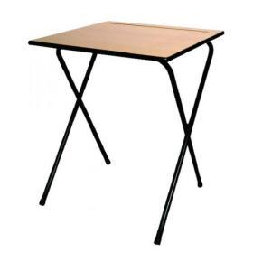 Titan Folding Exam Desk MDF Edge 600x600x720mm Beech KF78654