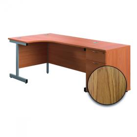 First Radial Right Hand Desk with Pedestal 1600x800-1200mm Oak/Silver KF803294
