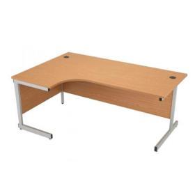 Jemini Oak/Silver 1800mm Left Hand Radial Cantilever Desk KF838052