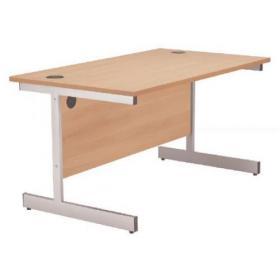 Jemini Beech/Silver 1200mm Rectangular Cantilever Desk KF838075